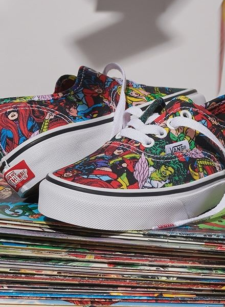 21f93289c8e765 The Vans x Marvel Pack offers 2 heroic designs on their classic Authentic  and Sk-8 Hi silhouettes built from durable canvas and vulcanised midsole  for ...